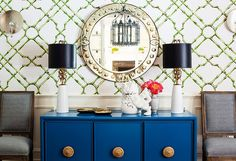Lauren Wiesbarth :  White and green Bamboo Trellis Wallpaper |Hollywood Regency Indigo Blue Buffet Cabinet |Art Deco Brass Lamps |Mirror