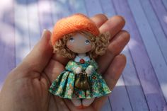 Miniature fabric doll is 3-1/8 in. only! This tiny dollhouse rag doll is perfect for dollhouse 1/12 scale