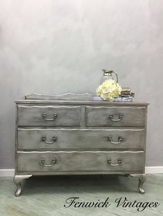 Metallic Dresser – Fenwick Vintages Metallic Dresser, Gilding Wax, Silver Paint, Dark Wax, Paint Finishes, Chalk Paint, Painted Furniture, Victorian, Painting