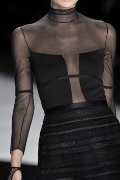 Form-fitting sheer top with opaque modesty panels; bold fashion details // Catherine Malandrino