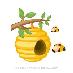 Honey bees in a beehive vector illustration