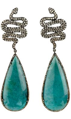 Sara Weinstock Paraiba Tourmaline & Diamond Snake Earrings