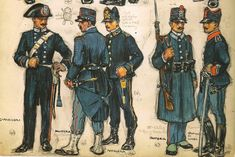"""Italy 1905-14 44 .- Soldier """"Carabinieri"""" dismantled uniform service. 45 .- infantryman, service uniform with cape. 46 .- Soldier Artillery service with cap campaign. 47 .- soldier 55th or 56th Infantry Brigade """"Marche"""", enter paa uniform guard with a cape. 48 .- soldier of the 2nd Cavalry Regiment, uniform service cap campaign."""
