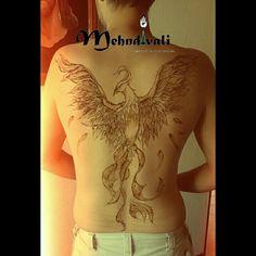 Mehndi henna phoenix fenix tattoo tatuaje espalda