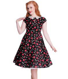 HELL-BUNNY-FRANCINE-APPLES-DAISY-PRINT-ROCKABILLY-DRESS-BLACK-RED
