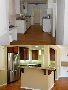 Before and After shot of the #Kitchen at Daphne! These happy homeowners now have plenty of counter space and new appliances in their #203k #Renovated home