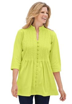Woman Within Plus Size Tunic Top, Pleated