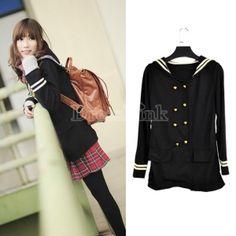 New Vintage Korean Girl's Women's Double-Breasted Long Sleeve Coat Black    $6.41