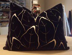 "Clarence House Noir ""VELOURS MADELEINE"" Silk Cut Velvet Leaf Custom Lumbar Pillows Pair - Brunschwig & Fils Silk Back - 15"" by 20"""