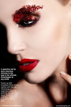 Red Glam Editorial Makeup