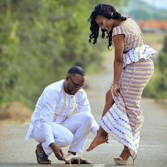 kente kaba and slit styles for wedding kente kaba and slit styles for wedding Couples African Outfits, African Clothing For Men, Couple Outfits, African Print Fashion, African Attire, African Wear, African Fashion Dresses, African Dress, African Style