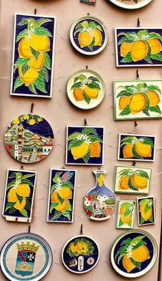 This may be a challenge - how to incorporate a few Italian tiles? Dan mentioned how much he loved these tiles and our time together on the Italian coastline. Lemons and Limoncello from Italy's Amalfi Coast Lemon Farm, Italy Places To Visit, Lemon Kitchen, Amalfi Coast Italy, Italian Tiles, Italian Pottery, Limoncello, Hand Painted Ceramics, Sorrento