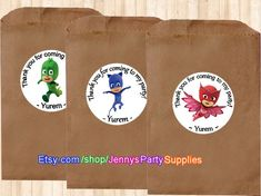 12PCS PJ Masks Personalized Favor Stickers by JennysPartySupplies