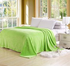 Solid Flannel Plush Throw Blankets, Bed Blanket Twin Full...