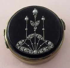 Antique Vintage ART DECO BLACK ENAMEL PASTE STONE & SEED PEARL COMPACT c1920