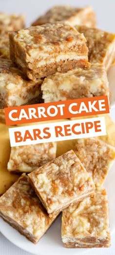 Carrot Cake Bars - These carrot cake bars are so moist and delicious! They have a sprinkle of cinnamon and a cheesecake swirl in them. They're the perfect Easter dessert bars. # easter desserts Carrot Cake Bars - Cookie Dough and Oven Mitt Carrot Cake Bars, Carrot Cake Cheesecake, Baking Recipes, Cookie Recipes, Dessert Recipes, Bar Recipes, Easter Recipes, Cake Mix Cookies, Easy Desserts