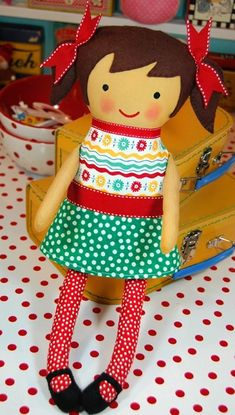Happy face doll - made using Black Apple's free pattern by arlene