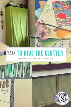 Ways to Hide The Clutter. Use these tricks to organize your classroom this year. you can even keep your piles. First Day Of School Activities, Teaching First Grade, School Resources, Classroom Decor Themes, Classroom Organization, Classroom Management, Classroom Ideas, Primary Classroom, Elementary Teacher