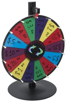 """18"""" Write-on Prize Wheel with 14 Slots, Countertop – Multi-Color"""