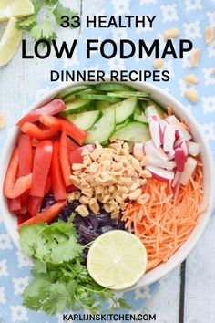 33 healthy low FODMAP dinner recipes (gluten-free, often lactose-free) Dinner Recipes Healthy Dinner Recipes, Diet Recipes, Vegetarian Recipes, Chicken Recipes, Healthy Food, Recipes For Ibs, Easy Recipes, Dessert Recipes, Healthy Kids