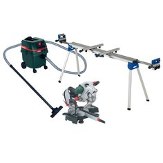 Metabo KGS254 Plus Laser Slide Compound Mitre Saw with Extending Legstand and Wet and Dry Vacuum Cleaner 110V