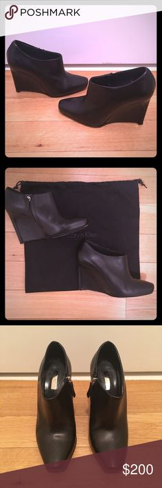 ✨HP✨ Calvin Klein Black Wedge Ankle Booties Calvin Klein Black Wedge Ankle Boots  Black leather  In excellent condition  Heel height is 4 inches Calvin Klein Shoes Ankle Boots & Booties