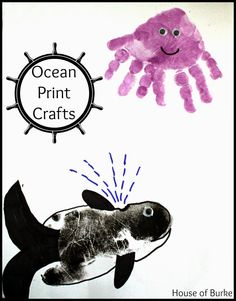 Ocean Print Crafts - an adorable handprint octopus and footprint orca whale - House of Burke