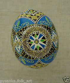 Blue Ukrainian Pysanka Easter Egg.