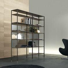 Rimadesio WIND. Fraaie modulaire design boekenkast uitgevoerd. Frame in (gelakt) aluminium, achterwand op bovenstaande afbeelding in reflecterend grijs glas.