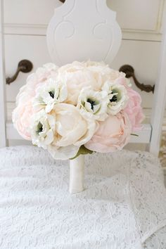 Peony anemone bouquet handmade peony fabric flowers with blue centered paper flower anemone