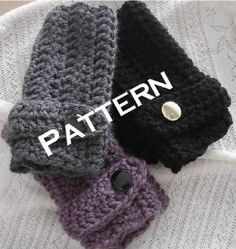 Crochet Fingerless Gloves Mittens Pattern PDF