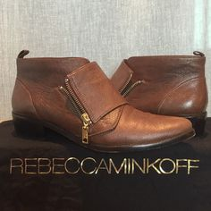 Rebecca Minkoff Saachi monk strap booties These are my beloved menswear inspired, lightly worn Rebecca Minkoff booties with zipper detail. These are a 9.5M, Mahogany washed. I wear a 9-9.5 and are about 1/2 size too big. Made in Brazil 100% leather. 1.5in heel. Comes with dust bag and box Rebecca Minkoff Shoes Ankle Boots & Booties