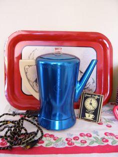 1960's Metallic Blue West Bend Flavo-Matic  Coffee Percolator
