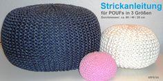 Strickanleitung und Garn für Poufs in 3 Größen gibt es bei stricxs.com