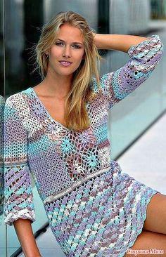 For women — Страница 51 — Crochet by Yana Crochet Tunic Pattern, Crochet Cardigan, Knit Dress, Moda Crochet, Crochet Lace, Tunisian Crochet, Hippie Crochet, Crochet Woman, Crochet Fashion
