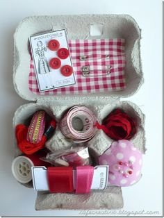 Egg Box Sewing Kit Gift...Umm, how cute is THIS?