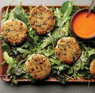 Quinoa-Black Olive Cakes with Baby Greens and Roasted Red Pepper Sauce, finecooking.com