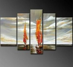 100% Hand Painted Red Sailing Boat at Sea 5 Piece Wall Art Oil Painting Modern Art Canvas Art Gallery Wrapped Stretched and Ready to Hang by Paintingworld, http://www.amazon.com/dp/B00B9QIH36/ref=cm_sw_r_pi_dp_-tcYrb0X05NGN