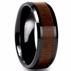 Men's Women's Tungsten Carbide Rings High Polished Beveled Edges Black Comfort Fit Wedding Bands with Hawaiian KOA Wood Inlay with Gift Box, Size - Jewelry, Fashion, Life Titanium Rings For Men, Titanium Wedding Rings, Wood Inlay Rings, Wood Rings, Rustic Wedding Bands, Wedding Ring Bands, Wedding Reception, Leaf Engagement Ring, Engagement Ideas