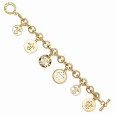 NEW VATICAN LIBRARY COLLECTION GOLDTONE FLOWER OF THE LILY CHARM BRACELET 7.5""