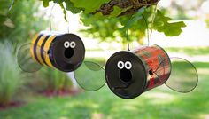 """Build a Fun Bug-Shaped Bird-feeder (or Bird House) Brought to you by Lowe's Creative Ideas..""""reate a buzz with these bumblebee and ladybug decorative birdfeeders made from repurposed paint cans."""""""