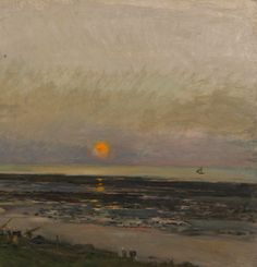 Sunset at Villerville, Charles-François Daubigny, The Mesdag Collection, The Hague, View this artwork Barbizon School, Sunset Sea, Van Gogh Museum, Seascape Paintings, Vincent Van Gogh, Art World, Art Boards, 1, Landscapes