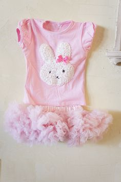 Girls Easter Dress - First Easter - Baby first Easter Outfit - Bunny Outfit - Pettskirt - Easter Dress. $45.00, via Etsy.