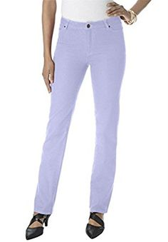 Plus Size Tall Straight Leg Jeans With Invisible Stretch Waistband (Lavender, 20 at Amazon Women's Clothing store: