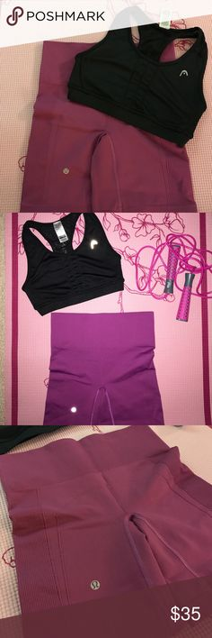 LULULEMON spandex shorts and AHEAD sports bra These LULU shorts are awesome! They compress any trouble areas in the butt and hips. They are a beautiful purple color and have a high waistband - so flattering. They are not booty shorts, they are a decent length and will definitely cover your butt. The AHEAD sports bra has a sexy cutout in the back and sheer netting - awesome back appeal! Shorts size 4 (0) bra size XS (0-00). Amazing price for the combination of these two brands. Both only worn…