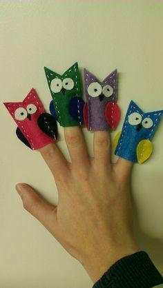 Hoot. Felt finger puppets.