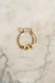3 Ball Septum Nose Cuff Gold fake nose ring by CurlyCuffs
