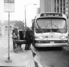 Chicago Avenue Bus, CTA, 1976.   Chicago Transit Authority