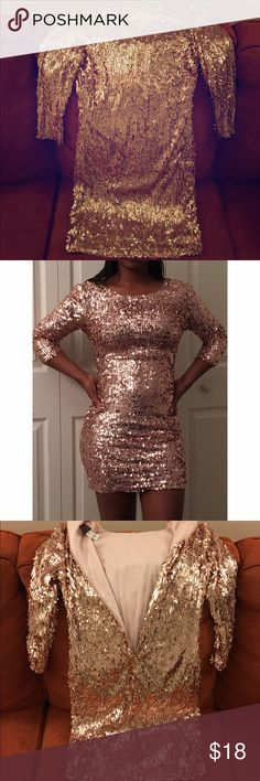 Rose Gold Sequin Dress Only worn twice! This short sequin dress was worn for my undergraduate graduation and it was absolutely stunning! Hasn't been worn since and just looking to get rid of it. Hot Miami Styles Dresses Mini