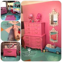 """The perfect private space for any little girl.  A play room/craft room all to herself!   The floors painted in an intricate diamond pattern with varied teal colors and that POP of gold!  Traceys Fancy Painted furniture with her """"twist"""" of fancy!"""